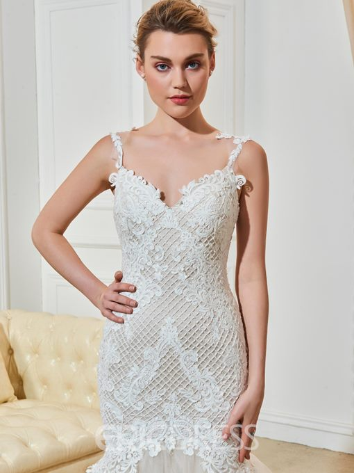 Ericdress Charming Spaghetti Straps Lace Backless Mermaid Wedding Dress