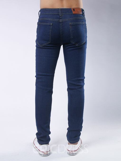 Ericdres Plain Skinny Holes Denim Casual Slim Men's Pants