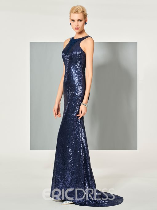 Ericdress Scoop Neck Sequins Backless Sweep Train Long Mermaid Evening Dress