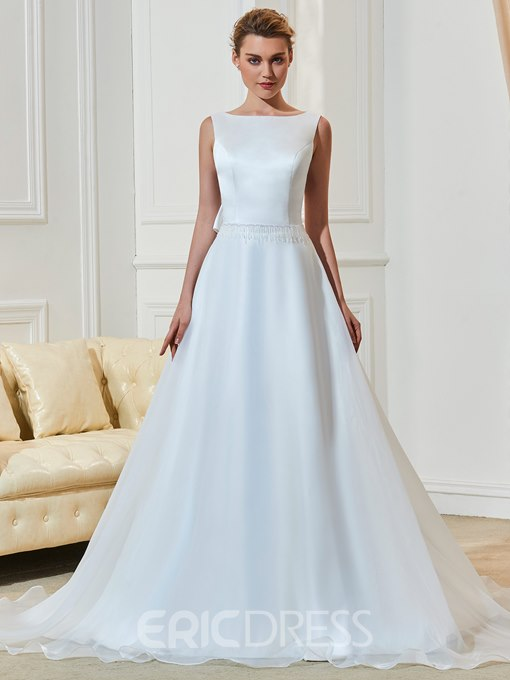 Ericdress High Quality Bateau Backless A Line Wedding Dress