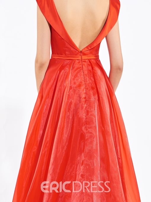 Ericdress A-Line Off-the-Shoulder Bowknot Pleats Backless Long Prom Dress