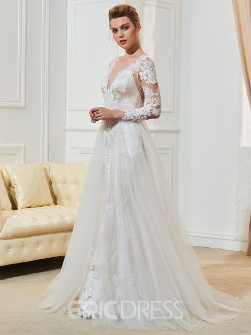 Ericdress Lace Long Sleeves Wedding Dress with Train
