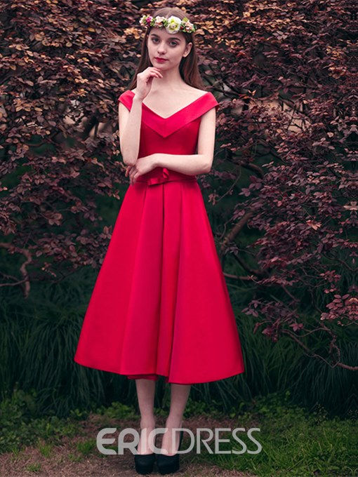 Ericdress Sweet A Line V Neck Off The Shoulder Bowknot Tea Length Prom Dress