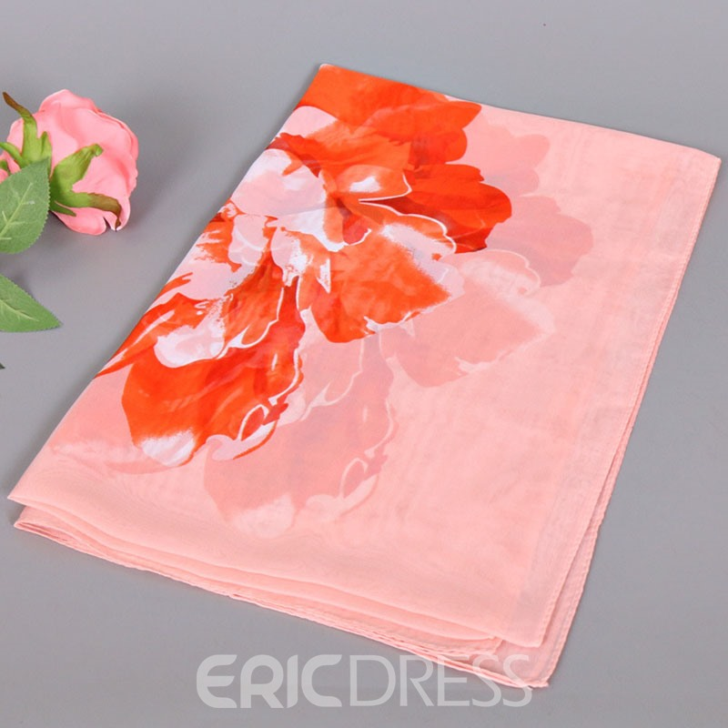 Ericdress Hot Sale Big Flowers Printed Thin Chiffon Scarf