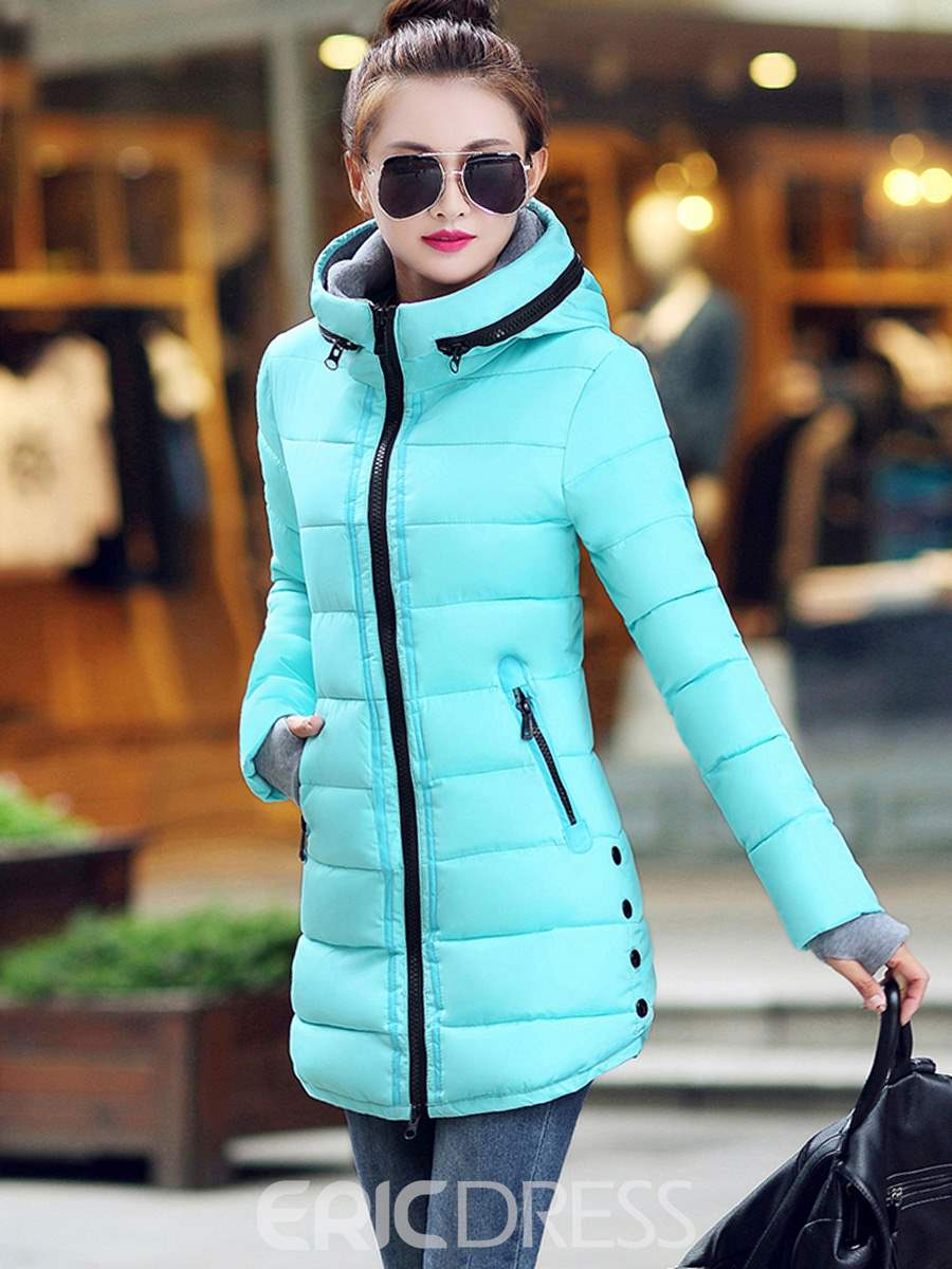 Ericdress Color Block Zipper Slim Coat