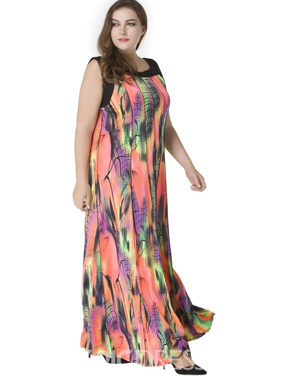 Ericdress Contrast Color Sleeveless Mid-Waist Maxi Dress