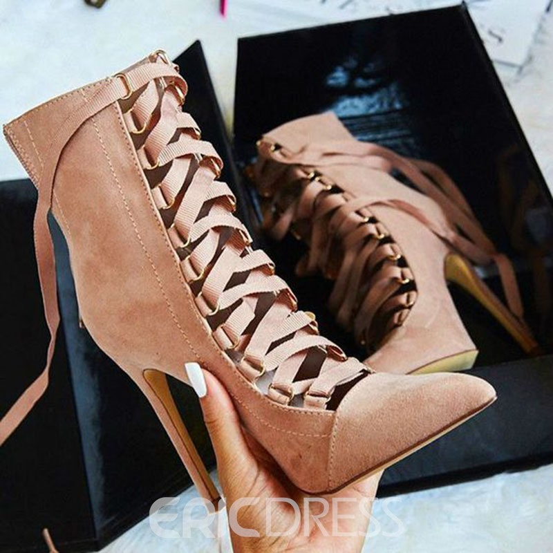 Ericdress Cross Strap Pointed Toe Ultra-High Heel Boots