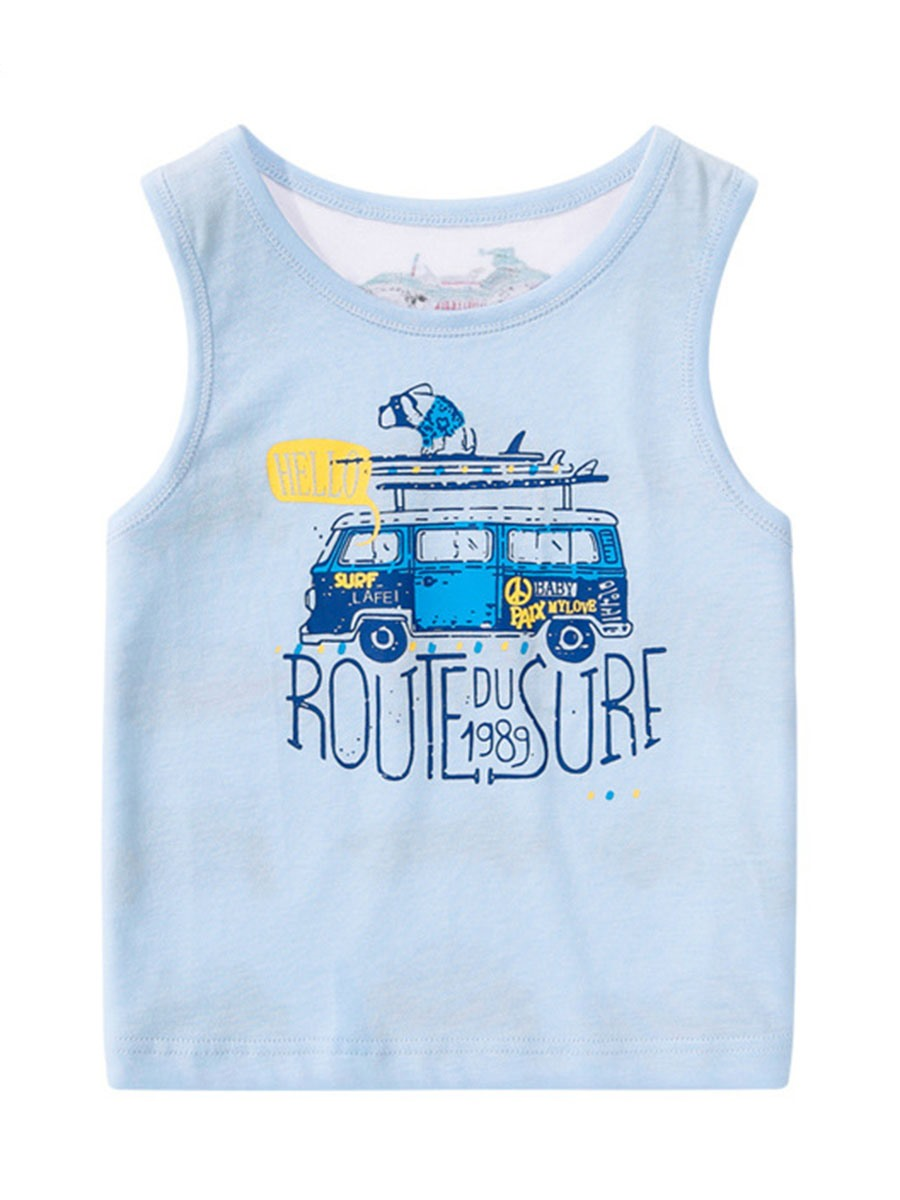 Ericdress Cartoon Print Cotton Suspenders Boys T-Shirt