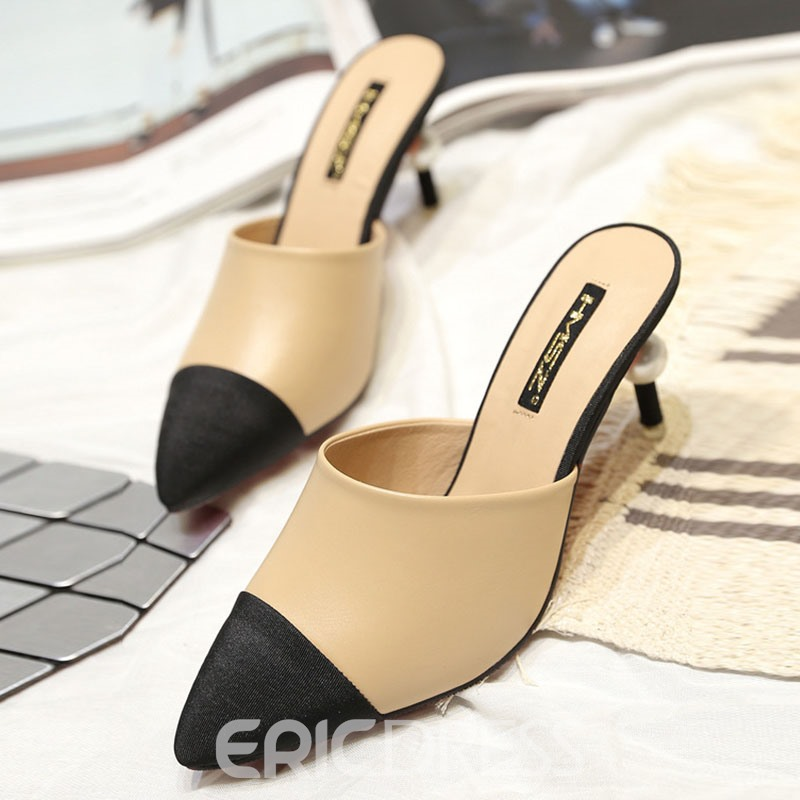 Ericdress OL Color Block Point Toe Mules Shoes