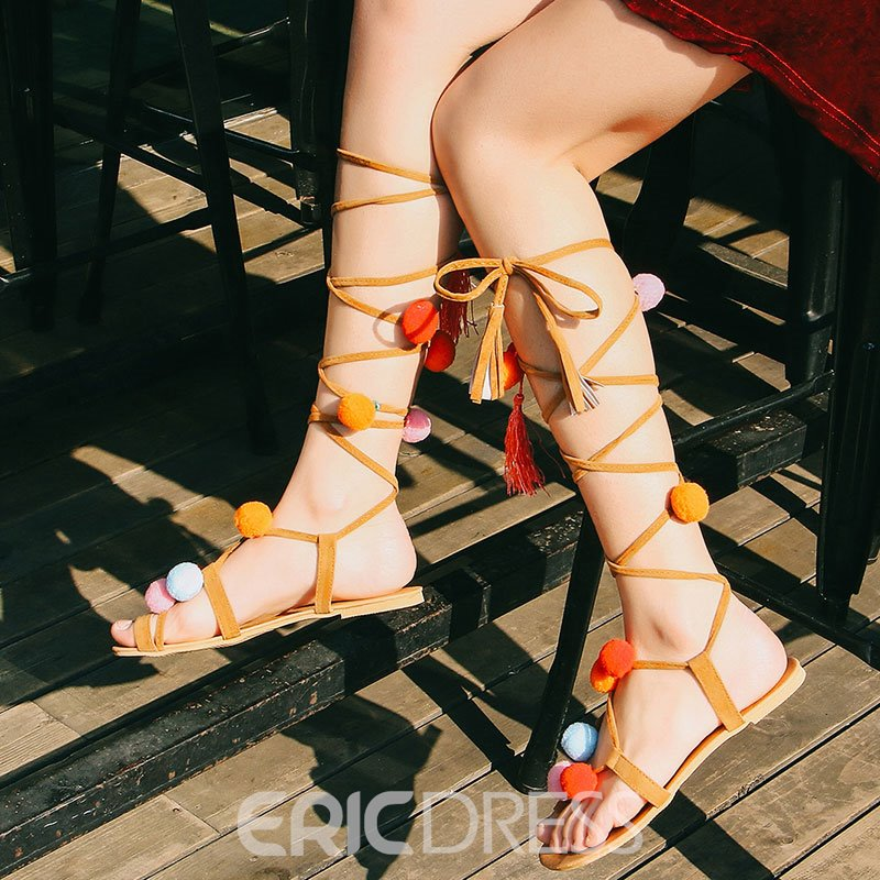Ericdress Ethnic Cross Strappy Toe Ring Flat Sandals