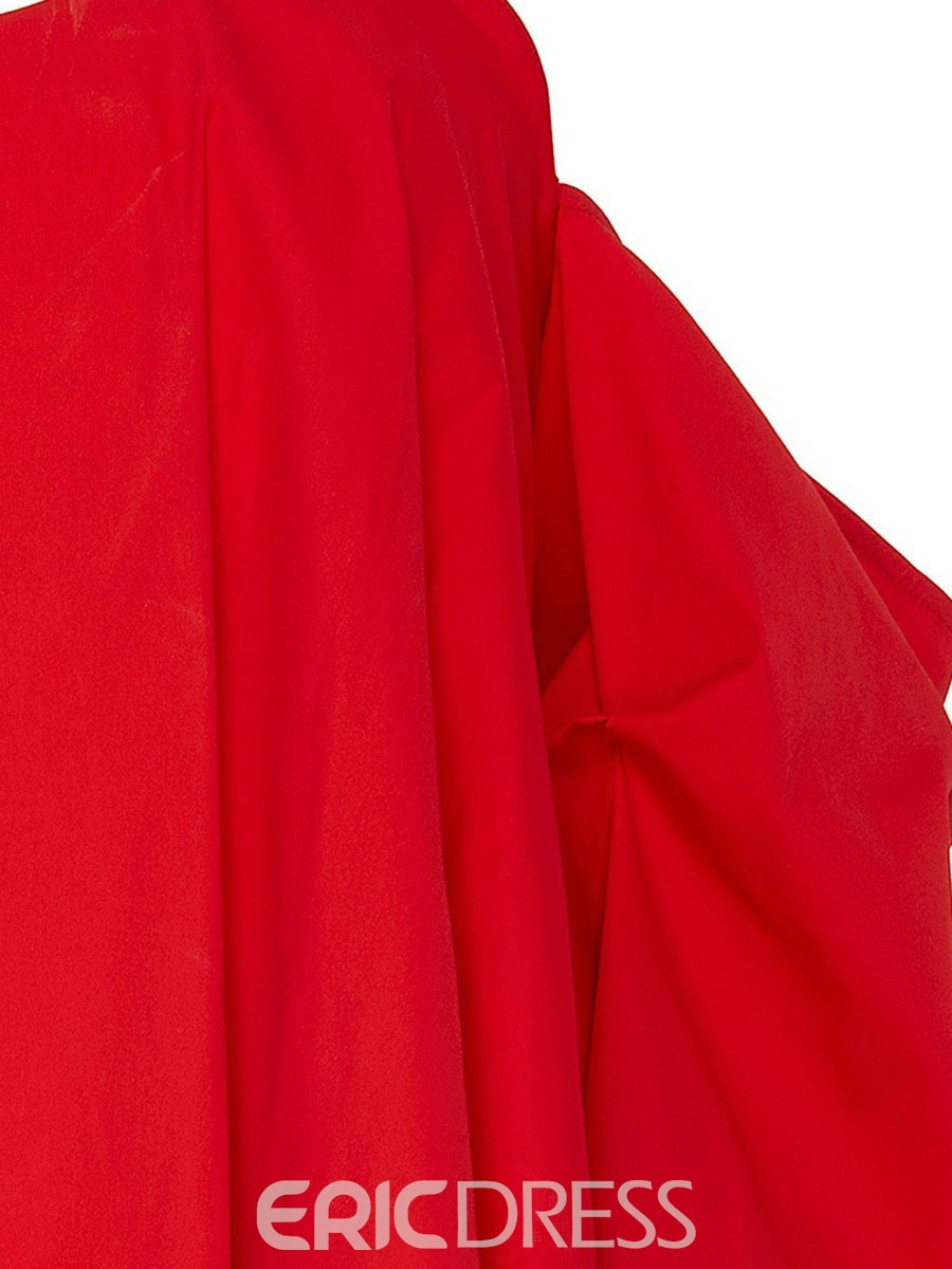 Ericdress Pleated Falbala Red Blouse