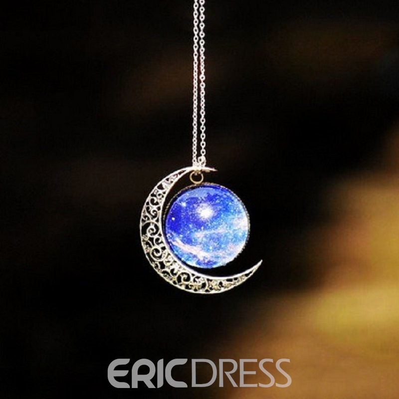 Starry Sky Moon Decorated Necklace
