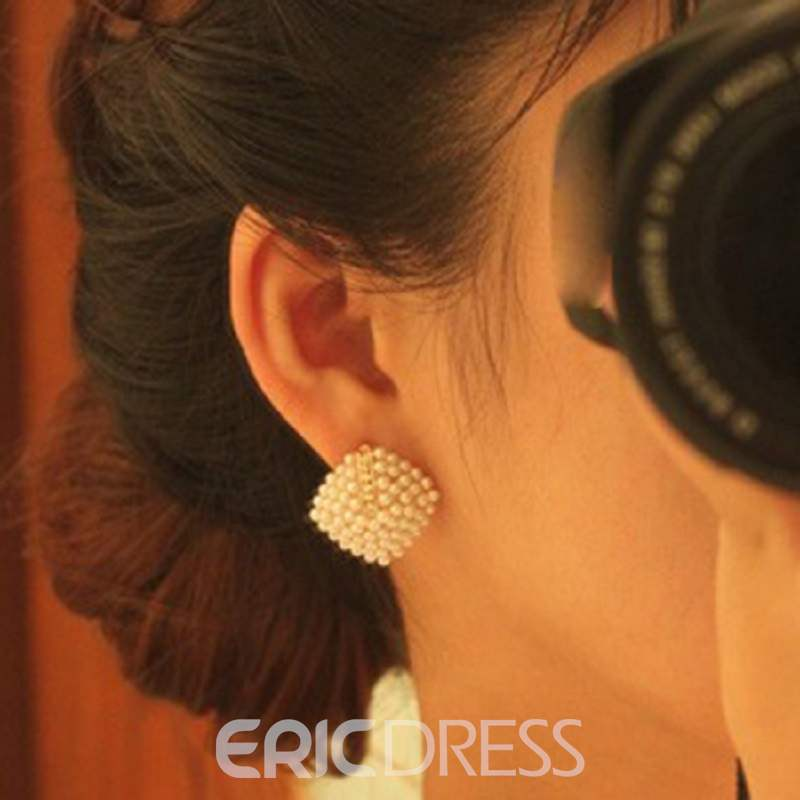 Ericdress OL Temperament Pearl Plaid Earrings(Price For A Pair)