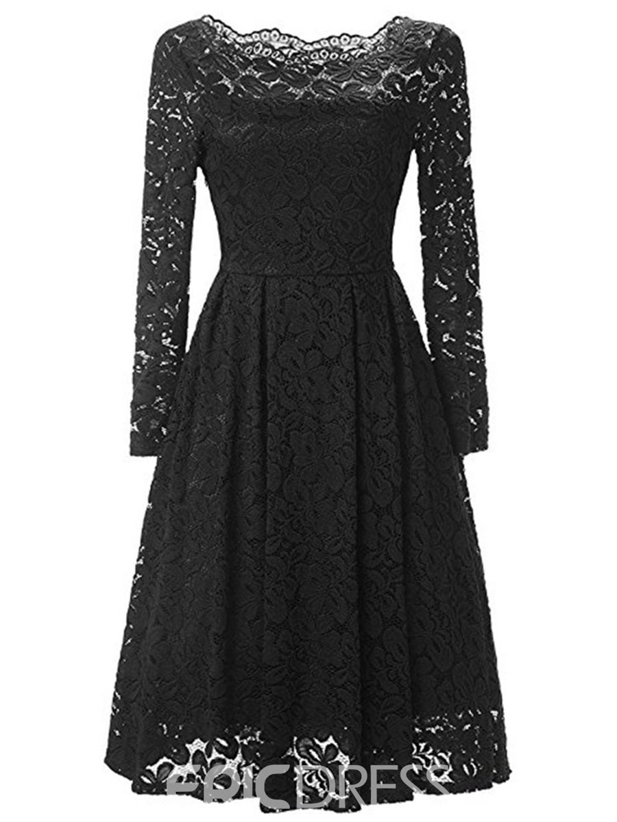 Ericdress See-Through High-Waist Pleated Lace Dress