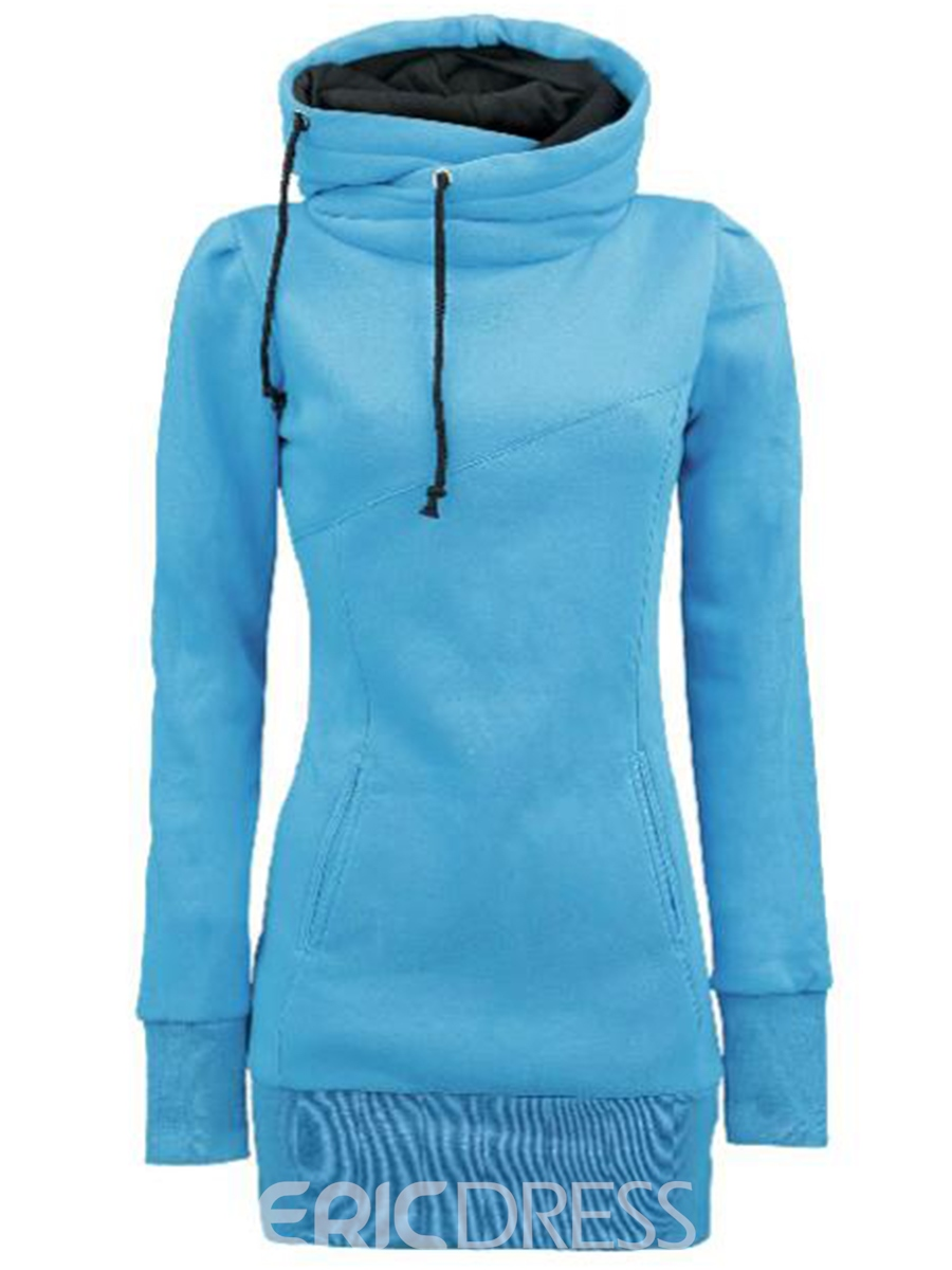Ericdress Solid Color Turtleneck Hoodie