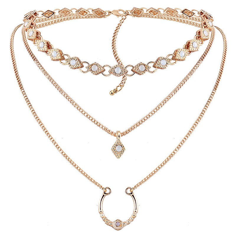 Ericdress Multilayer Nice Polishing Alloy Diamante Necklace