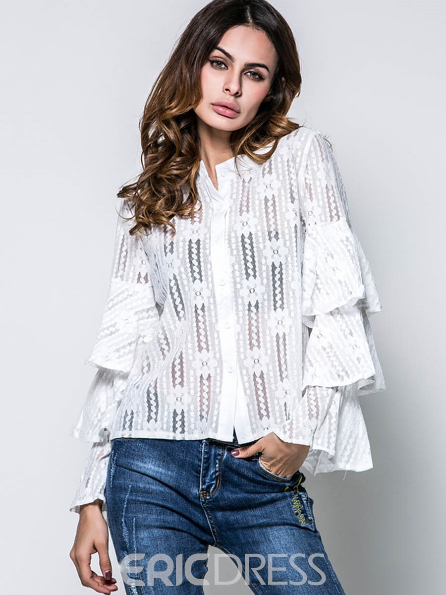 Ericdress Lace Hollow Ruffle Sleeve Blouse
