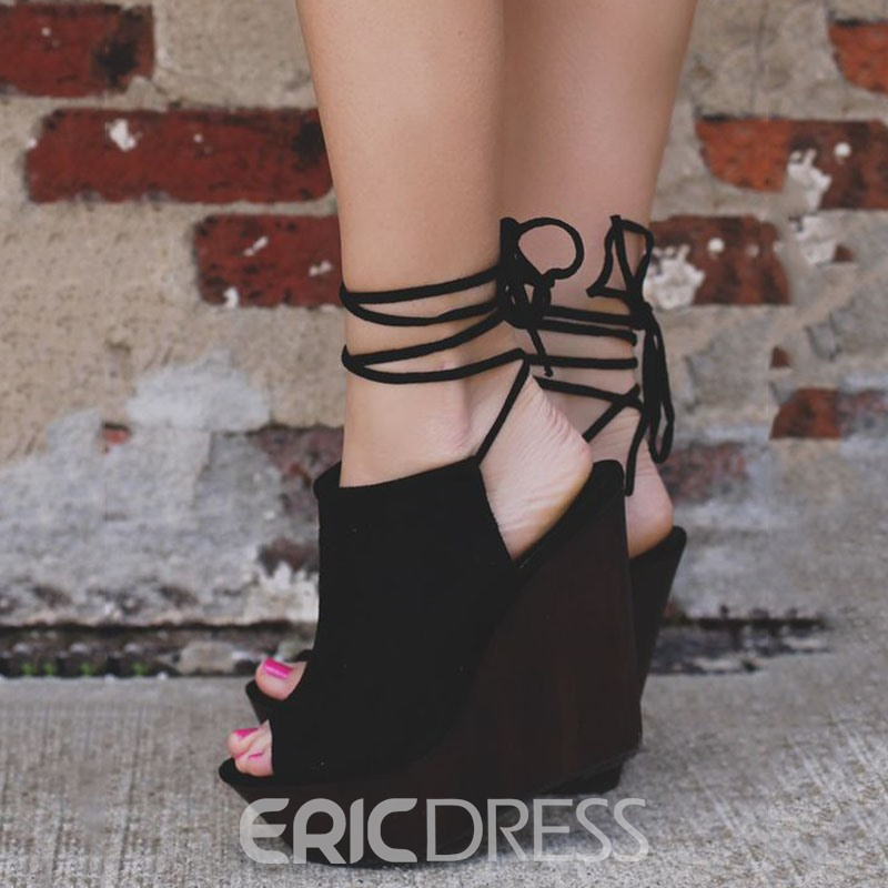 Ericdress Black Peep Toe Back Lace up Wedge Sandals