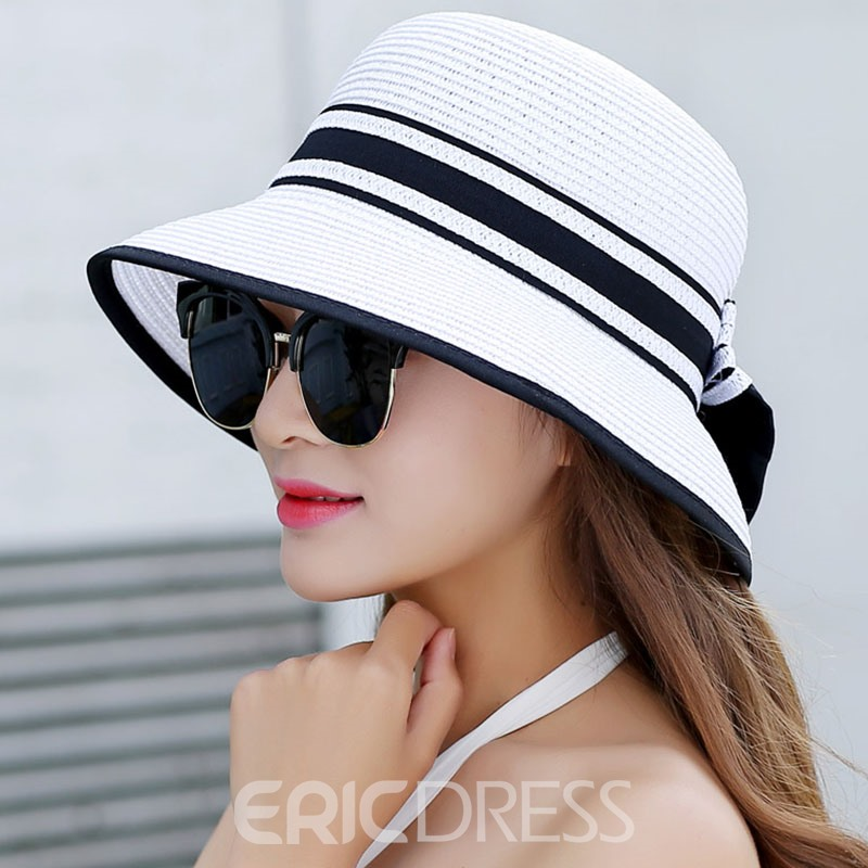 Ericdress Stripe Design Bowknot Foldable Summer Sun Hat