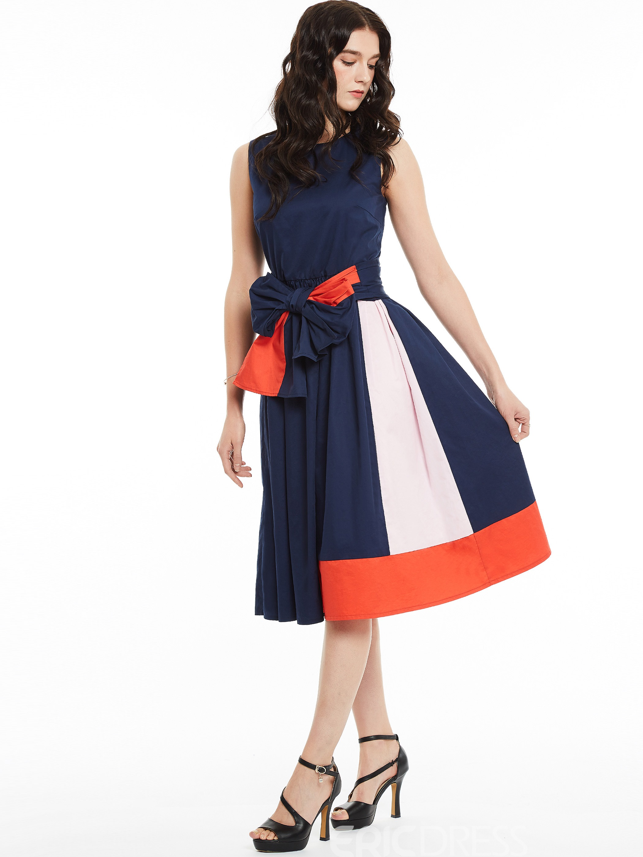 Ericdress Round Neck Sleeveless Color Block A-Line Dress