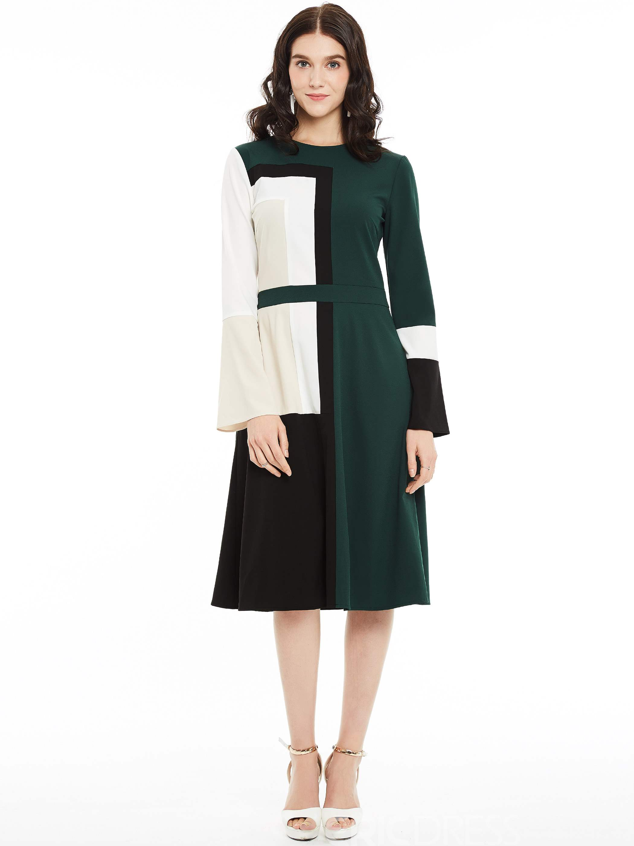 Ericdress Color Block Long Sleeves A Line Dress