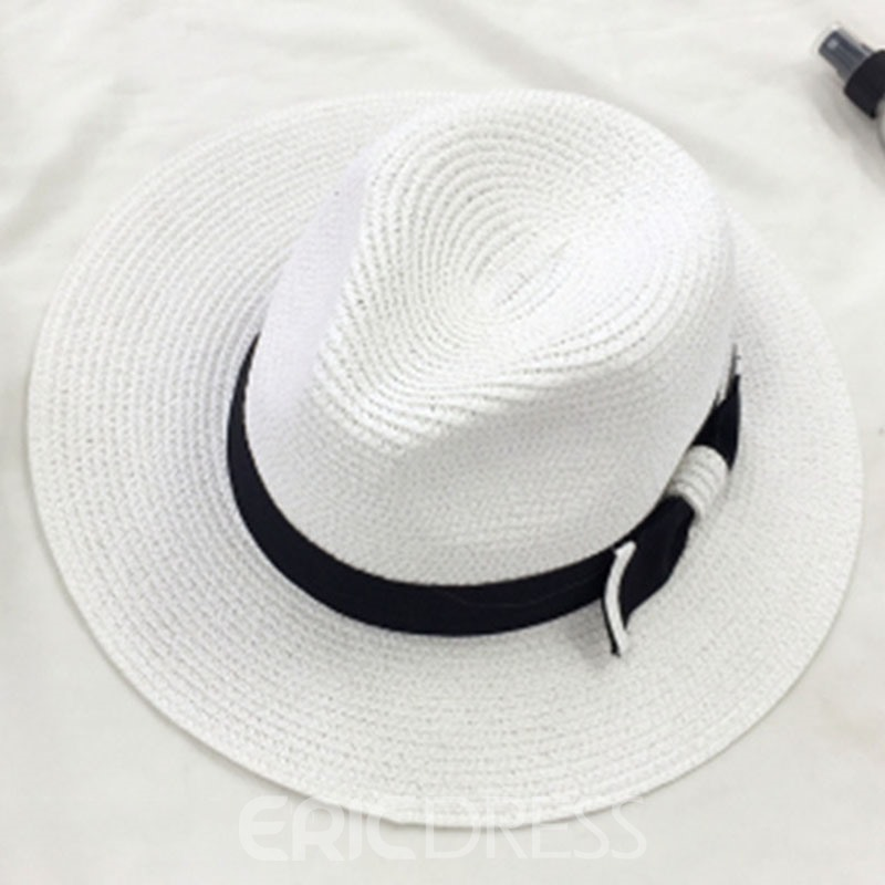 Ericdress Bowknot Decorated Black and White Straw Hat
