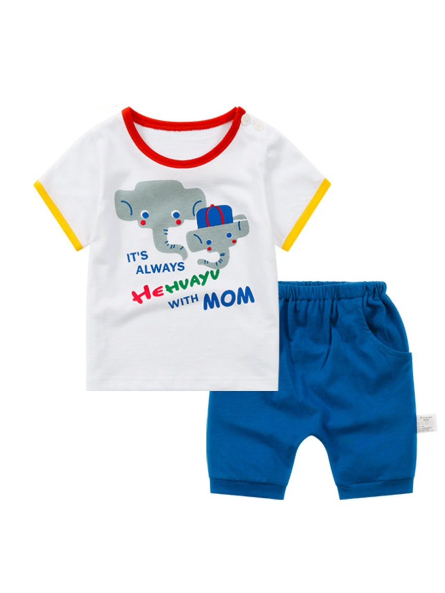 Ericdress Cartoon Stripe Shirt Shorts Boys Outfit