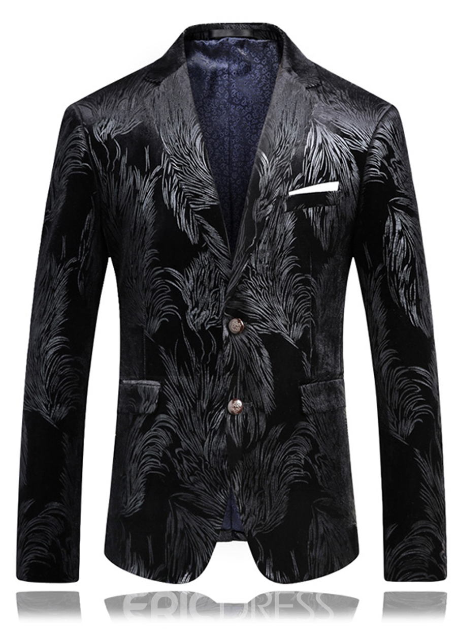 Ericdress Pocket Vogue Elegant Print Men's Blazer