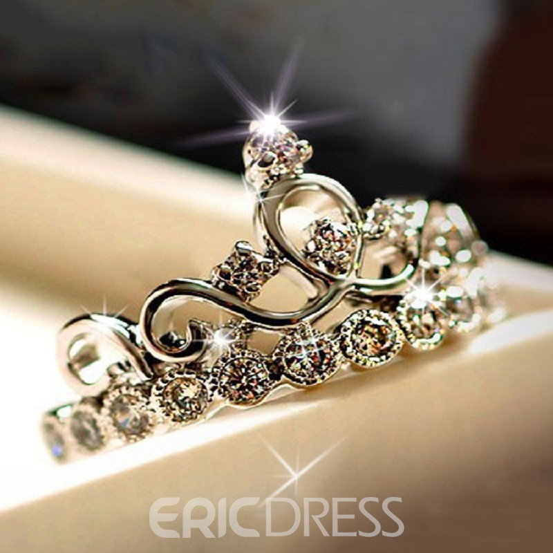 Classy Crown Silver Ring With Rhinestone 11032460