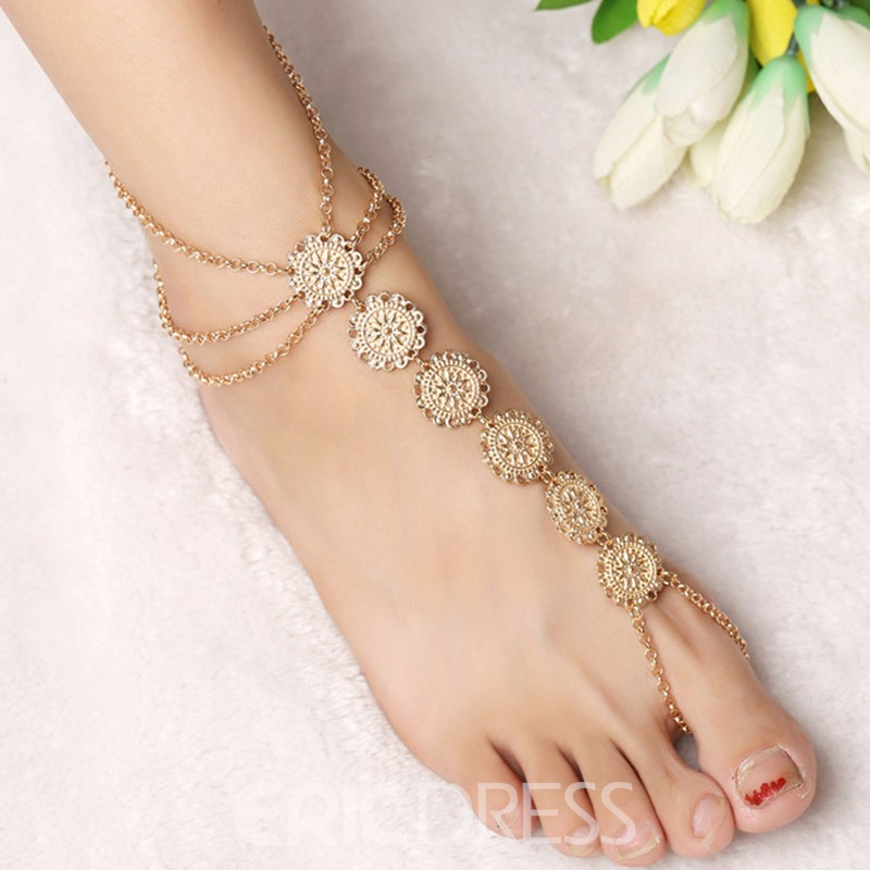 Ericdress Multilayer Carved Tassels Bohemian Anklet