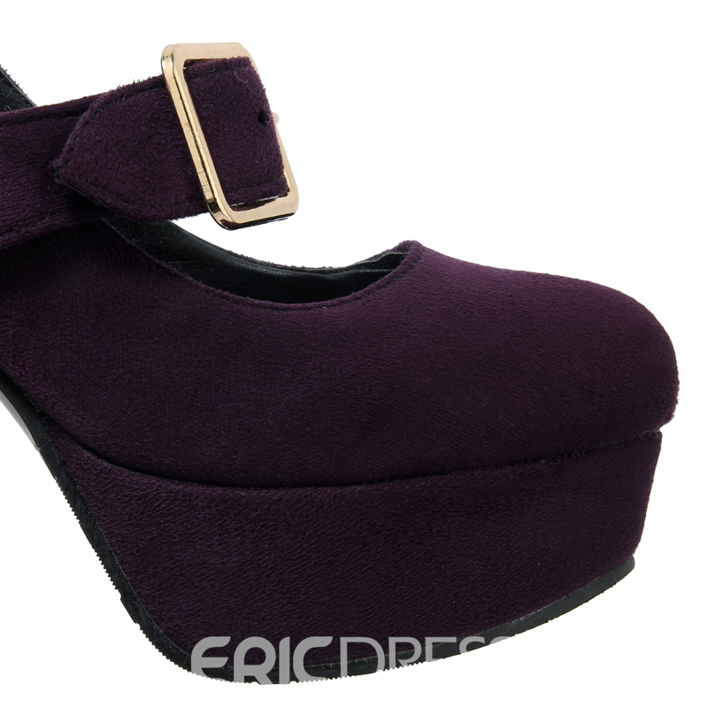 Ericdress Suede Platform Buckles Pumps