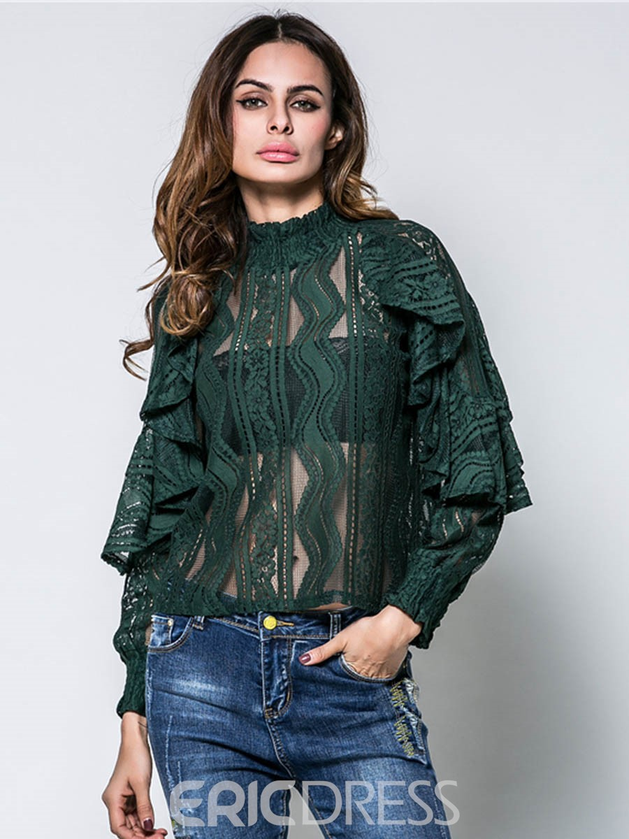 Ericdress Lace Hollow Falbala Blouse
