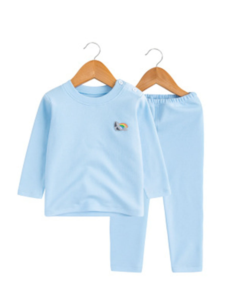 Ercidress Plain Cotton T-Shirt&Pants 2-Pcs Boys Outfit