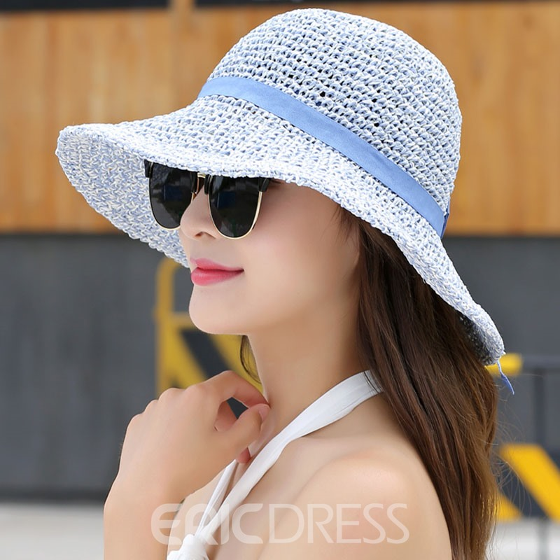 Ericdress Foldable Large Brim Breathable Beach Straw Hat