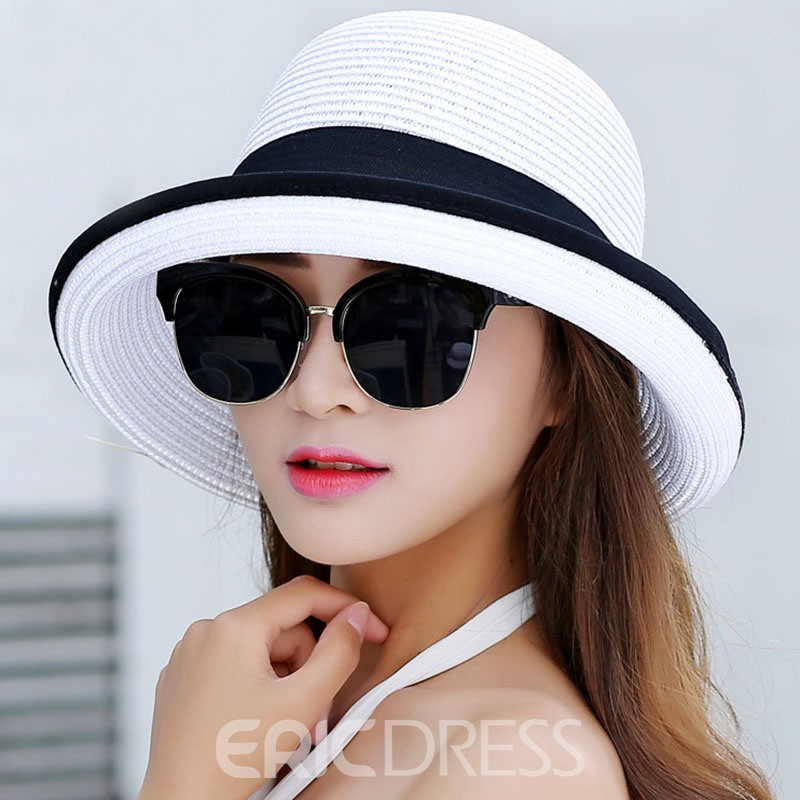 Ericdress Roll Brim Design Beach Sun Hat