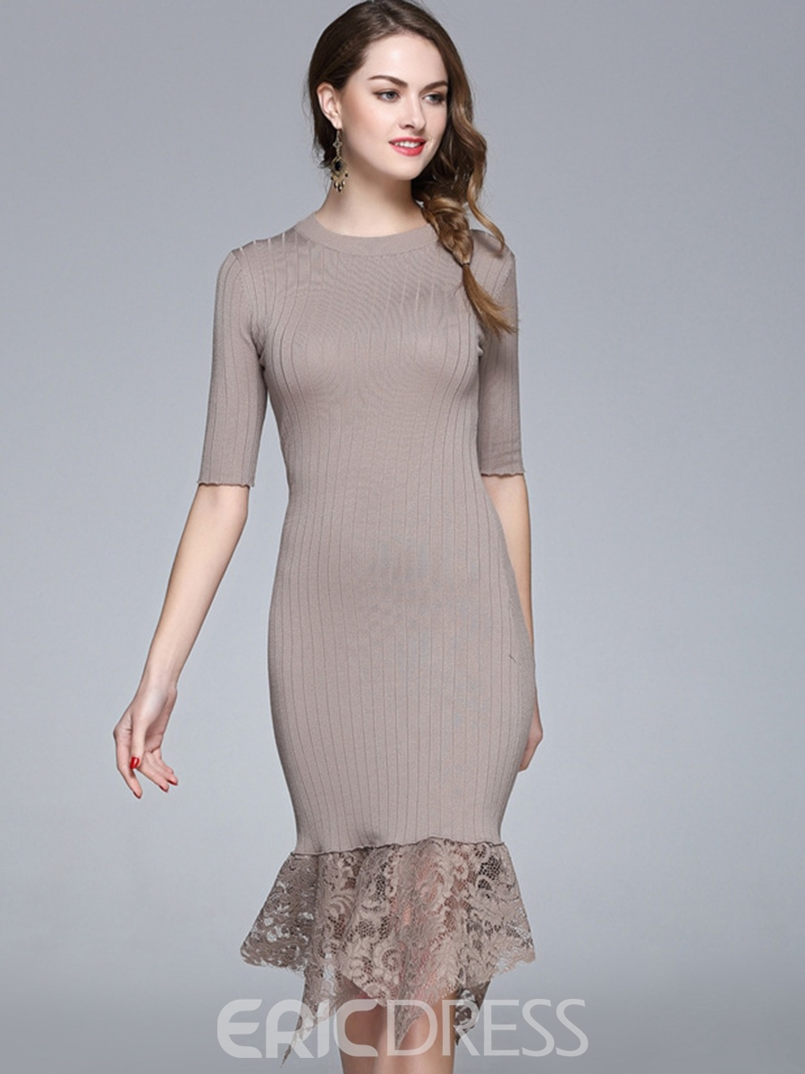 Ericdress Solid Color Lace Mermaid Sheath Dress