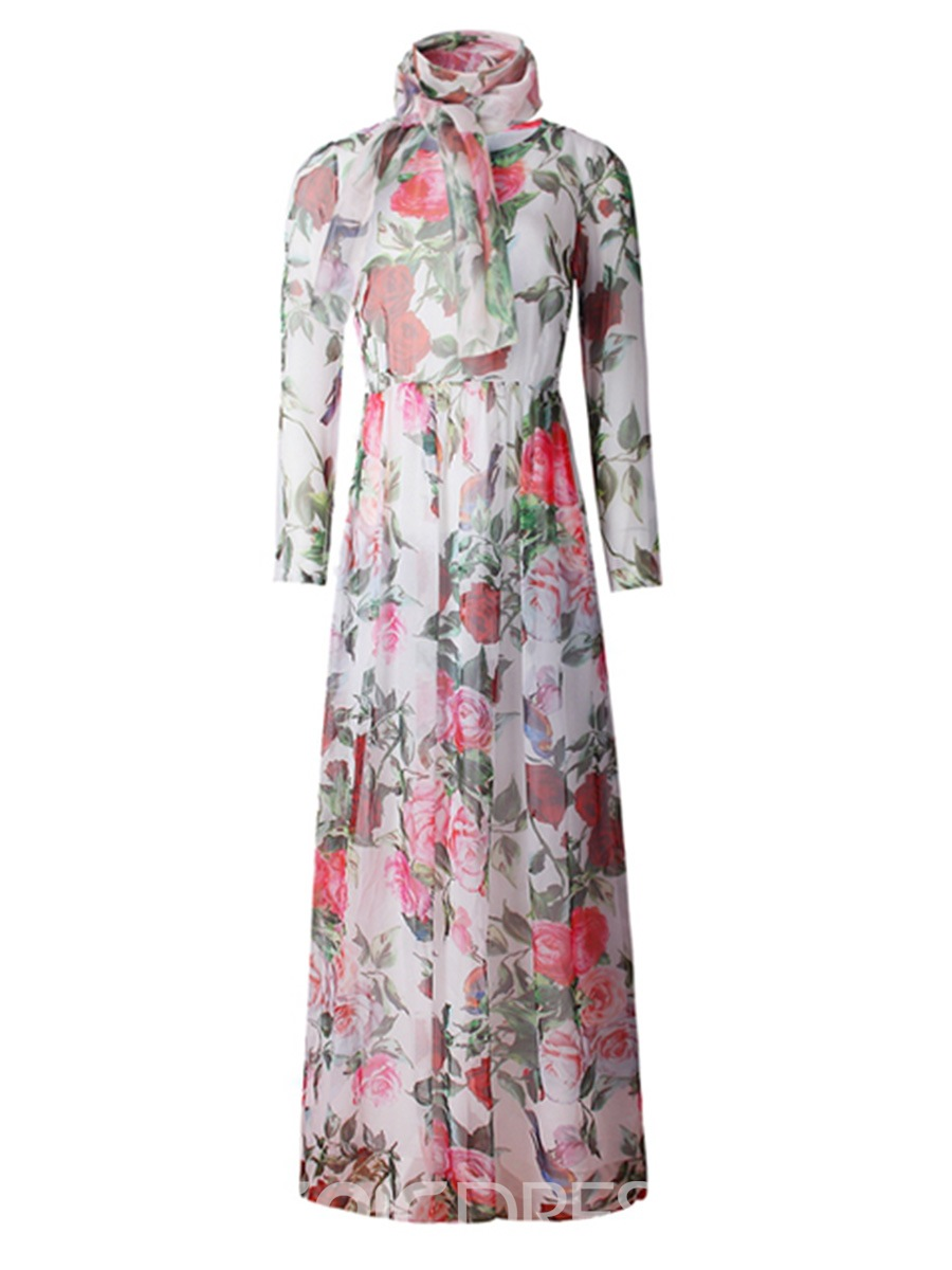 Ericdress Floral Print Round Collar Pleated Maxi Dress