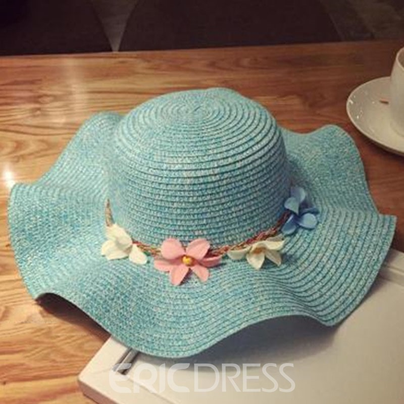 Ericdress Flowers Decorated Solid Color Beach Straw Hat