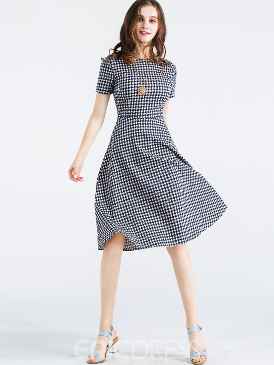 Ericdress Plaid Short Sleeve Expansion A Line Dress