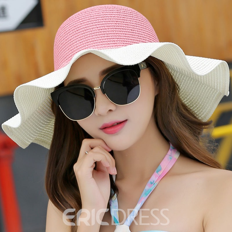 Ericdress Agaric Edge Brim Design Color Block Sun Hat