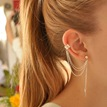 Ericdress Chic Tassel Leaf Pendant Ear Cuff Earrings