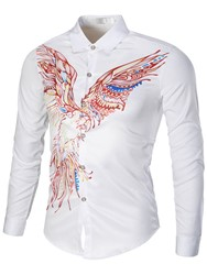 Ericdress Long Sleeve Unique Print Mens Shirt фото