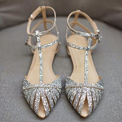 Ericdress Sequin Pointed Toe Flat Sandals фото