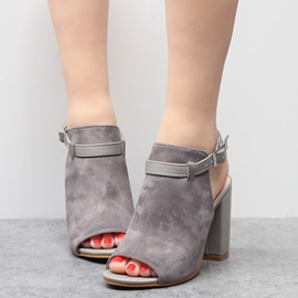 Ericdress Suede Buckles Backless Chunky Sandals