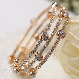 Ericdress Three Layers Elastic Full Rhinestone Bracelet