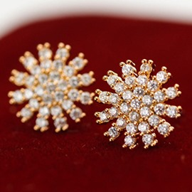 Ericdress Micro Zircon Snowflake Design Stud Earrings