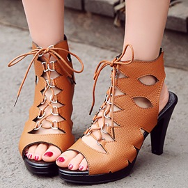 Ericdress Cut Out Lace up Peep Toe Chunky Sandals