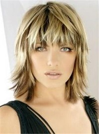 Ericdress Bangs Layered Blonde Haircut Straight Synthetic Hair Capless Wig 12 Inches