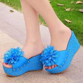 Ericdress Sweet Flower&rivets Platform Mules Shoes