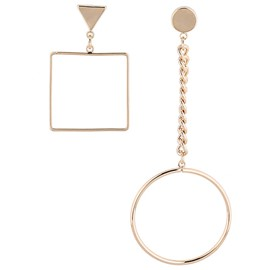 Ericdress Alloy Square and Circle Design Asymmetric Earrings